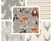 BUNDLE - Hello Bear - Art Gallery Fabrics - Bonnie Christine - Deer Heads Antlers Gray Woodland Nursery