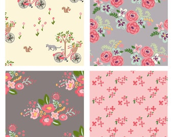 BUNDLE - Bloom - Monaluna Fabrics - Organic Cotton Quilting Fabric Bundle - Nursery Pink Gray Bicycle Flowers
