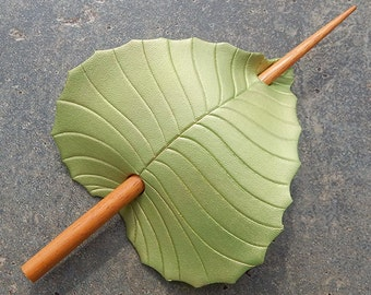 Leather Hair Accessory - Peridot Green Birch Leaf Barrette Hair Stick, Hair Slide Or Shawl Pin