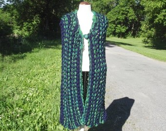 Chunky knit vest extra long button front vertical stripes in kelly green and navy blue medium large women