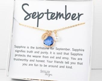 September Sapphire Birthstone Personalized Gold Necklace, Sapphire Necklace, September Birthstone Jewelry, Personalized Gold Necklace #877