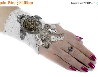 Steampunk Textile BRIDAL Cuff Leather Lace WINGS Watch, Brass Gears Key Bird Chain MORE MORe Wedding Cuff - Steampunk Clothing by edmdesigns