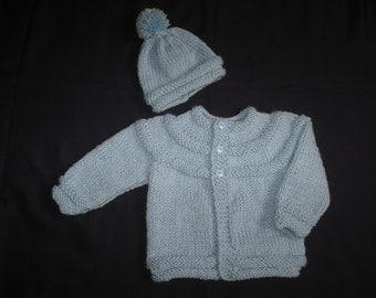 Blue Yoke Style Handknit Baby Sweater and Hat