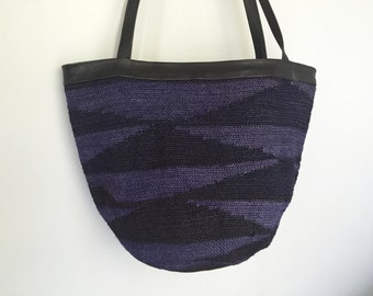 Beach Goth - Woven Southwest Style Leather Tote.