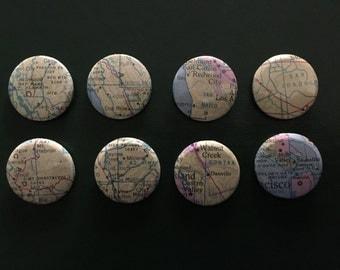 California CA 8 Handmade Buttons Pins Maps