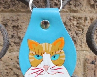Key Fob with Tabby Cat Head Shot