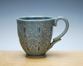 Cornflower blue handmade mug, Folk pattern w. Navy detail, Victorian modern