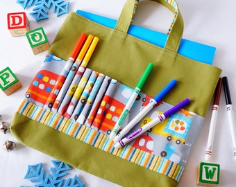 Crayon Tote • Crayon Bag • Coloring Bag • Art Tote • Crayon Holder • Crayon Roll • Ring Bearer • Busy Bag • ARTOTE • All Around the Town