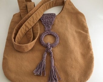 Hand Dyed Shoulder Bag with Dyed Crocheted Closure in Madder and Tannin