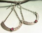 Garnet Earrings, Sterling Silver Earrings, Chandelier Earrings, Red Gemstone Earrings, Exotic Earrings, Long Earrings, Silver Jewelry,