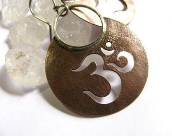 Copper Earrings, Aum Om Earrings, Mixed Metal Earrings, Sterling Silver And Copper Jewelry,  Metaphysical Symbolic Jewelry, Yoga Jewelry