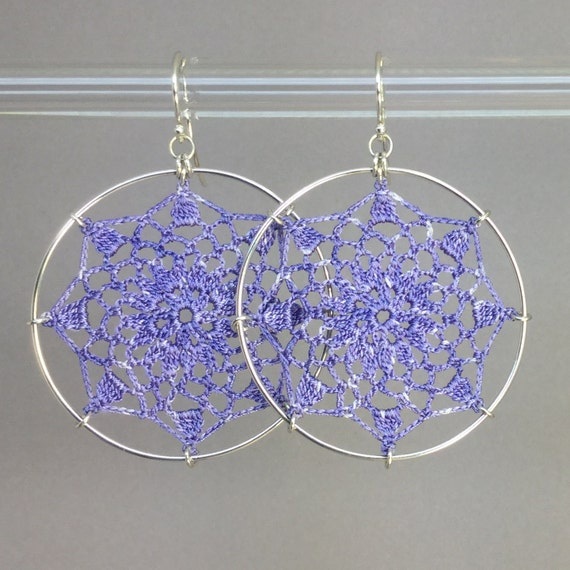 Mandala doily earrings, lilac hand-dyed silk thread, sterling silver
