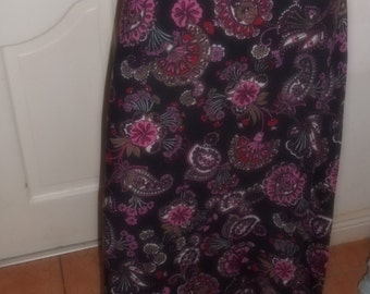 Vintage seventies 70's 1970's Maxi Skirt Pink Black Paisley Gypsy Ruffle