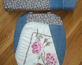 Denim Embroidered Rose Toilet Seat Cover Set