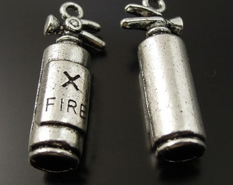 Charms Silver fire extinguisher  Jewelry Finding Pendant  charm  quantity 2  (R5)