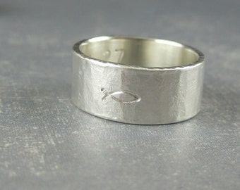 Fish symbol ring Christian fish ring, personalized inscription ring, Ichtys ring, silver Ichthus ring, jesus fish ring, christian jewelry