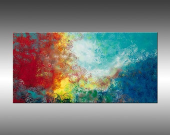 Synchronicity 9 - 24x48 Inches, Original Art Abstract Painting Large Blue Wall Art Contemporary Canvas Art, Portland, Oregon