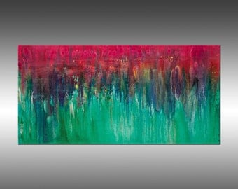 Cascading - 24x48 Inches, Original Art Abstract Painting Large Wall Art Contemporary Canvas Art, Portland, Oregon