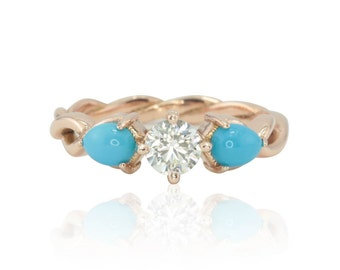 Three Stone Engagement Ring - Diamond Engagement Ring with Turquoise Accents and Twisted Infinity Shank in 14k Rose Gold - LS4543