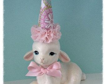Birthday  Decoration Shabby Chic Vintage  Lefton Lamb Figurine Easter OrnamentTVAT
