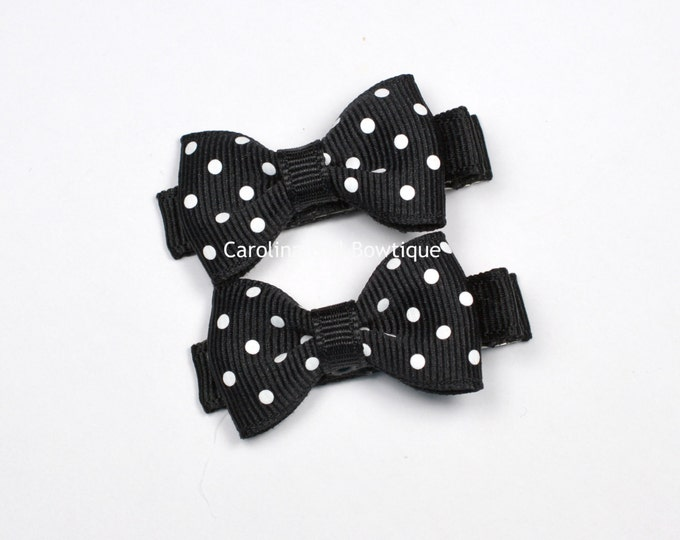 Mini Hair Bows ~ Black Dots Hair Bow Set of 2 Small Hairbows - Girls Hair Bows - Clippies - Baby Hair Bows ~ No Slip Grip always added