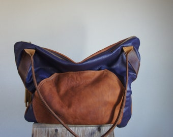 NEW///XL Oxford Sling in 70's Calvin Klein Kimono, Chestnut Brown, and Purple Leather with and Horween Leather Tote Straps