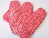 HEAVY Mama Cloth Pad .. Great for Postpartum .. 12 inch Pink Flowers FREE Shipping