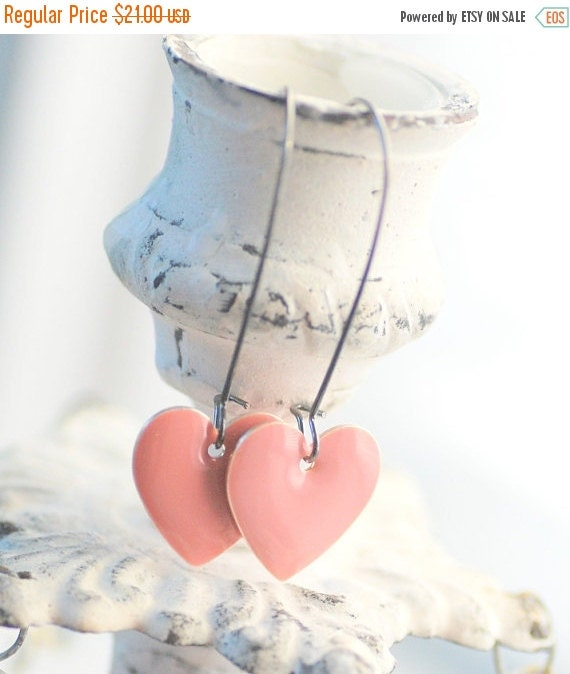 Heart Earrings, Pink Earrings, Romantic Jewelry, Pastel Earrings, Enameled Earrings, Affordable Wedding Jewelry