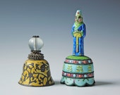 Two decorative enameled metal indian bells / bohemian decor