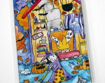 Witch House Magnet Halloween Autumn Refrigerator Magnet Kitchen Decor Ghost Pumpkins Samhain October Magic Orange Purple Halloween Witch