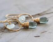 RESERVED: Gemstone Earrings.  Moss Aquamarine. March Birthstone. Calming, Cleansing Stone. Mossy Earthy Natural Hammered Hoop Earrings