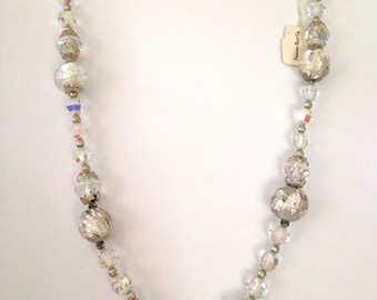 Murano Glass Vintage 50s Venetian Necklace Glass Crystal NWT Silver Foil