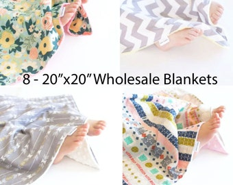 "Wholesale Set of 8 - 20""x20"" Baby Blankets, Security Blankets, You Choose Prints"