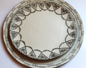 Set of two doily plates- Serving plates, pottery plates