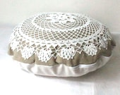Country cottage round doily pillow made of antique hand loomed fabric and vintage doily- decorative accent pillow