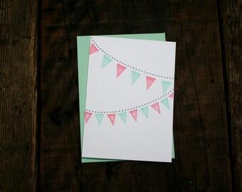 Letterpress Printed Birthday Pennants Card (Pink + Green) - single
