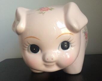Vintage Lefton Large Piggy Bank, Pink Floral Piggybank