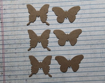 6 Bare chipboard Butterflies 2 different styles 1 9/16 inches wide and 1 15/16 inches wide