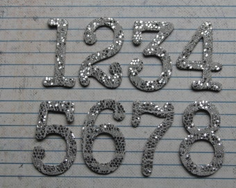 1 3/4 inch tall Numbers 1-12 silver lace glitter cardstock die cuts great for wedding table numbers