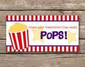 INSTANT DOWNLOAD - Valentine Treat Bag Topper - Popcorn - Printable Digital File - Design 3