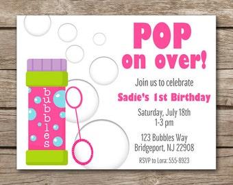 Bubbles Invitation, Bubbles Party Invitation, Bubbles Birthday Invitation, Bubbles Invite, Bubbles Thank You Card, PRINTABLE