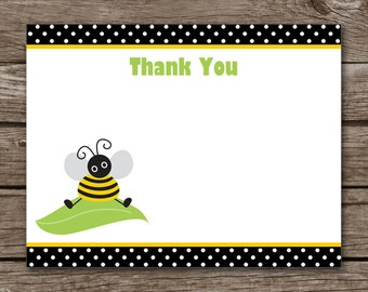 Bee Thank You Cards, Bee Cards, Bee Stationery, Bee Stationary, Bee Birthday Thank You, Flat Note Cards, INSTANT DOWNLOAD