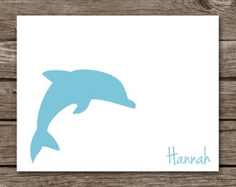 Dolphin Note Cards - Silhouette - Notecards - Stationery - Thank You - Sea Life - Ocean - Beach - Personalized - Set of 8