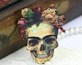 4pcs Vintage Rose Skull Charms, Wood Flower Skull Pendants HW019D