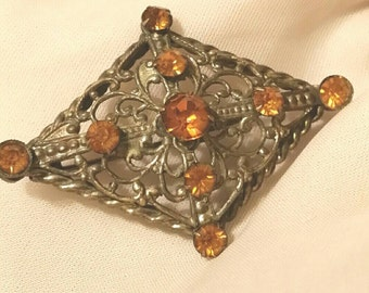 Stunning Vintage Brass Czech Styled Filigree And Amber Brooch