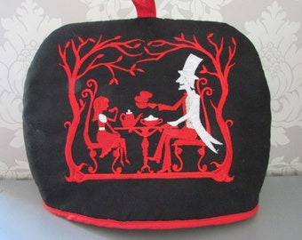 Mad Hatters Teaparty Embroidered Tea Cosy Black  teapot /gothic/Alice in Wonderland Medium