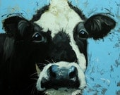 Cow painting 1108 20x20 inch animal original oil painting by Roz