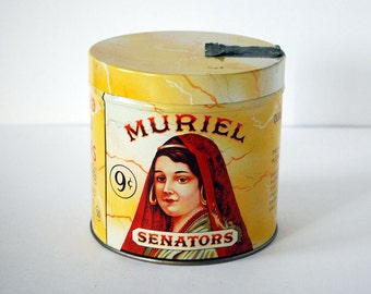 Vintage Muriel Senators Cigar Tin Box Tobacco Container Tobacciana 1940s 1950s Yellow Metal Red Spanish Woman Collectibles Factory No 17