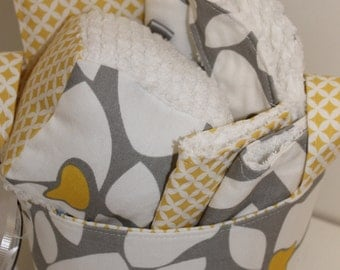 Grey/ Yellow Baby Gift Basket--- Ready To Ship--- Baby Shower Gift--- New Mom Gift
