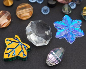 25 pcs vintage assorted Swarovski beads, components, and pendants, faceted Austrian crystal asst sizes colors